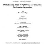 21 Ottobre 2016 – Incontro Whistleblowing organizzato con Ambasciata USA in Italia e Master Anticorruzione Tor Vergata
