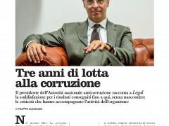 Intervista a Raffaele Cantone sul numero di settembre del mensile LEGAL
