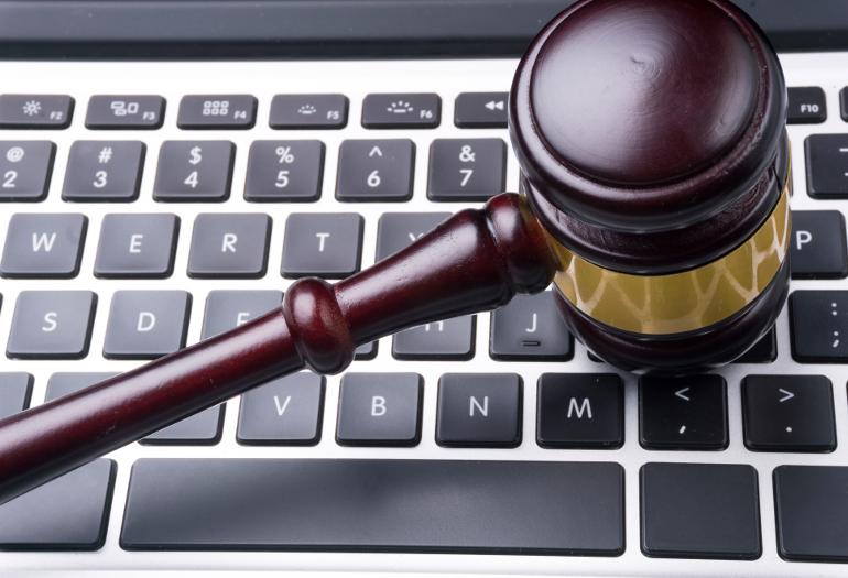 judge hammer on keyboard