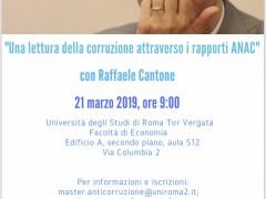 """SAVE THE DATE: """"Una lettura della corruzione attraverso i rapporti ANAC"""" con Presidente dell'Autorità Nazionale Anticorruzione il prossimo 21 marzo, ore 9:00 al Master Anticorruzione, Terza Edizione, presso Università degli studi di Roma Tor Vergata"""