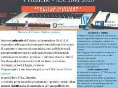 Aperte le iscrizioni per la V Edizione del Master Anticorruzione, A.A 2019-2020, Università degli Studi di Roma Tor Vergata