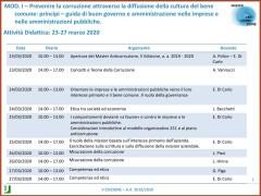 La V Edizione del Master Anticorruzione, Università degli Studi di Roma Tor Vergata, a.a 2019-2020