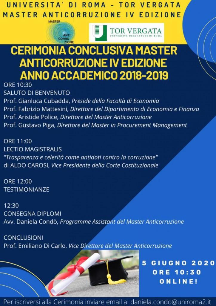 Save the date# 05.06.2020. Cerimonia conclusiva del Master Anticorruzione, IV Edizione, Università degli Studi di Roma Tor Vergata