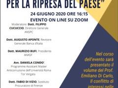 """Save the date# 24/06/2020 ore 16:15 evento on line """" La gestione del conflitto di interessi, snodo cruciale per la ripresa del paese"""""""