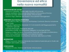 """Tavola Rotonda on line conclusiva della V Edizione del Master Anticorruzione, a.a. 2019-2020: """"Governance ed etica nella nuova normalità"""", 19 marzo 2021, ore 14."""