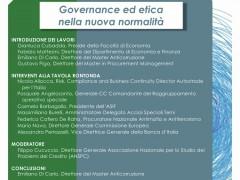 """Tavola Rotonda on line conclusiva della V Edizione del Master Anticorruzione, a.a. 2019-2020: """"Governance ed etica nella nuova normalità"""", 19 marzo 2021, ore 14"""